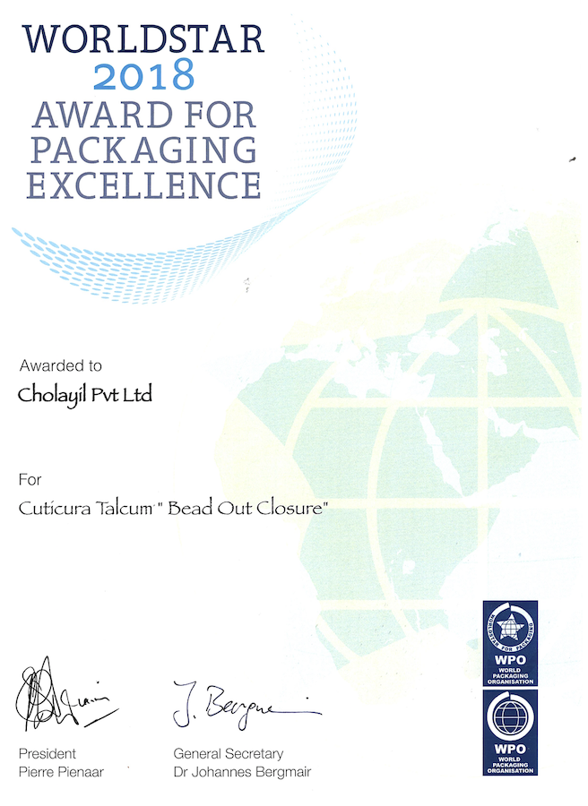 Certificate for Packaging Excellence - World Star 2018
